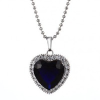 Dark Blue Stone Heart Shaped Pendant Necklace