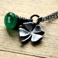 Four Leaf Clover Necklace Shamrock Lucky Charm by GlitzGlitter