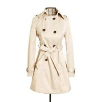 Amazon.com: Womens Spring/Autumn Double Breasted Belted Coat Slim Rain Trench Coat Casual Jacket Outwear: Clothing
