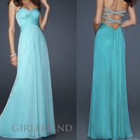 Elegant sequins chiffon prom dress - blue green from Girlsfriend
