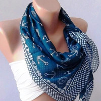 Marine Shawl  Dark Blue Shawl  Cotton Scarf  Headband  by womann