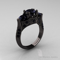 Nature Inspired 14K Black Gold Three Stone Black Diamond Solitaire Wedding Ring Y230-14KBGBD