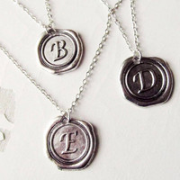 Man Monogrammed  Necklace, Initial Necklace,Unisex Gift, Personalized Jewelry, antique Silver.