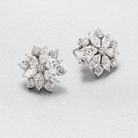 Adriana Orsini - Faceted Floral Button Earrings/Silvertone
