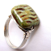 wire wrap ring picasso moss green ridged tablet by WakeUpTheAngel