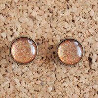 Nail Polish Jewelry - earrings 16mm studs resin dome glitter pizazz glam 3d effect resin dome bezel FREE shipping to USA