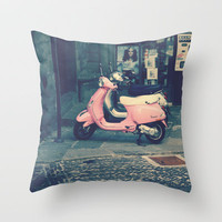 PINK VESPA Throw Pillow by Logram | Society6