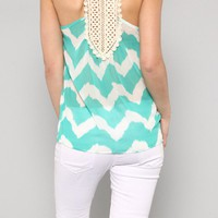 Mint Chevron Crochet Back Tank Blouse
