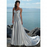 A-line Satin Sweetheart Silver Wedding Dress Style JD1328