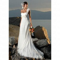 Princess Strapless One Strap Sleeveless Taffeta&Tulle Beach Wedding Dress Style RD1044