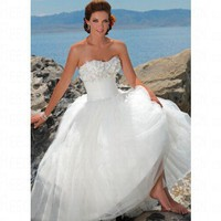 Beach Ball Gown Chiffon&Tulle Ivory Wedding Dress Style JD1406