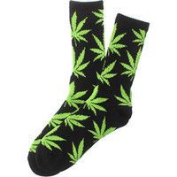 HUF Plantlife Crew Socks (black / lime) Accessories HUFAC3103P-BLM | PickYourShoes.com