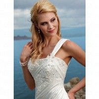 Beach A-line One-Shoulde Beaded Bodice Ivory Satin Wedding Dress Style JD1430