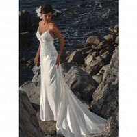 Beach Sheath Spaghetti Straps Floor-length White Satin Wedding Dress Style SD5204