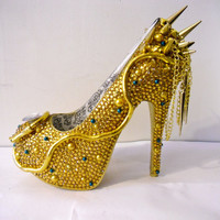 RHINESTONE SNAKE HEELS Medusa Shoes w/ by uniquezaccess on Etsy