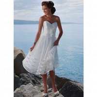 Beach Ballgown Sweetheart Ruched Bodice White Organza Wedding Dress Style RD1105