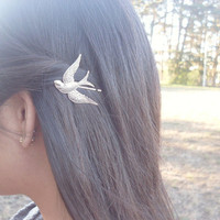 Bird Bobby Pin - Silver Woodland Wedding Bridal Hair Accessories - Bohemian Hair Accessories - Cute Adorable Boho Elegant Whimsical Dreamy