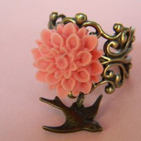 Victorian inspired pink mum ring by CreativeKates on Etsy