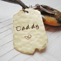 Daddy brass dog tag necklace with Rhyolite gemstone wishbone charm and crystal
