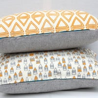 Little Boxes - houses mustard and grey, organic screen printed pillow 12&quot; x 20&quot;