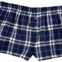 """Amazon.com: Navy Blue Silver (white) Plaid Check Flannel Cotton Girl Boxers Mini Itty Bitty Shorts 1"""" Inseam, Covered elastic waist, 100% cotton,: Clothing"""