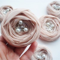 Pale Pink Roses Handmade Appliques Embellishments