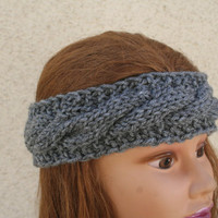 Knit Headband Cable Knit Headband Ear Warmer Green Black Grey Turban - By- PiYOYO