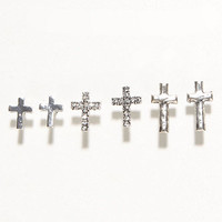 With Love From CA 3 Card Cross Stud Earrings at PacSun.com