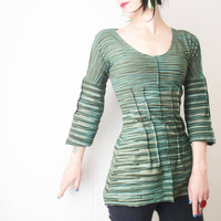 Long Before - iheartfink Handmade Hand Printed Womens Spring Fashion Artistic Striped Blouse Top