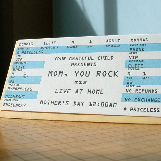 $4.50 mom rock mother&#x27;s day ticket card by afavoritedesign on Etsy