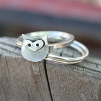 Owl Sterling Silver Stacking Ring  Back To School  Made by thenay