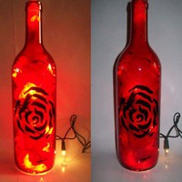 $35.00 Red with Black Swirls Bottle Bar/Table Lamp by CReationsbyTootie