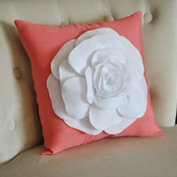 White Flower on Coral Pillow Coral Pink Red Orange by bedbuggs