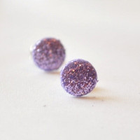 Tiny lilac glitter dot post earrings by MeredithsLittleShop