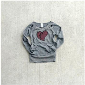 SALE  womens sweatshirt  winter fashion  heart in by blackbirdtees