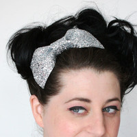 Silver Glitter Bow Headband Girls Bow Headband by JanineBasil