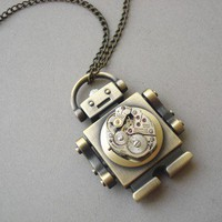 Robot Steampunk Necklace by MDsparks on Etsy