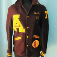 vintage 1976 womens lettermans jacket. alter band lettermans jacket. womens lettermens jacket. size M