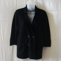 New Joe black wool blend double-breasted cardigan with three-quarter sleeves