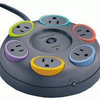 SmartSockets 6-Outlet 16 feet Cord Table Top Circular Color Coded Power Strip and Surge Protector