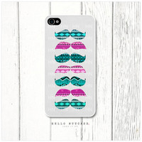 iPhone 4 and 4S case Pink and Teal Aztec Mustache