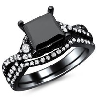 2.50ct Black Princess Cut Diamond Engagement Ring Bridal Set 18k Black Gold with a 1.65ct Center Diamond and 0.85ct of Surrounding Diamonds