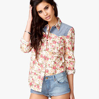 Chambray Rose Print Shirt