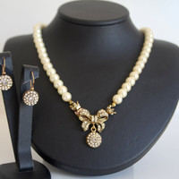 Antique brass vintage style full strand ivory pearl classic bridal jewelry set wedding jewelry bridal jewelry