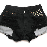 Black Levi high waist denim shorts M by deathdiscolovesyou on Etsy