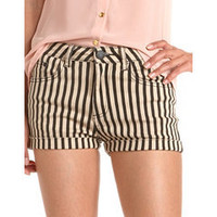 Vertical Stripe Cuffed Short: Charlotte Russe