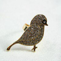 Rhinestone bird ring