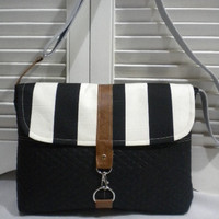 Black and White Stripes Maycas Daily Messenger by maycascollection
