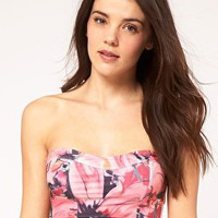 ASOS | ASOS Printed Lace Up Back Bandeau Bikini Top at ASOS