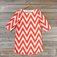 Seaflower Chevron Dress in Tomato, Sweet Women's Bohemian Clothing